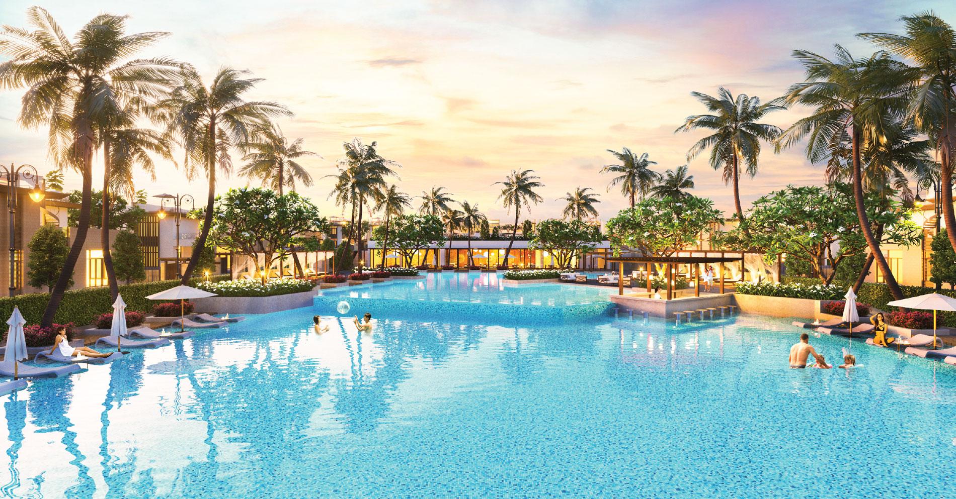 Hồ bơi nước mặn 2000m khu dự án Cam Ranh Mystery Villas